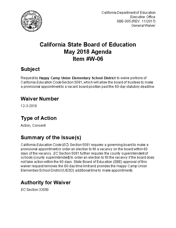 May 2018 Waiver Item W-06 - Meeting Agendas (CA State Board of Education)