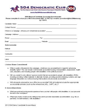 Mayoral Candidate Screening Questionnaire