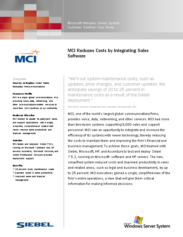 MCI Reduces Costs by Integrating Sales Software
