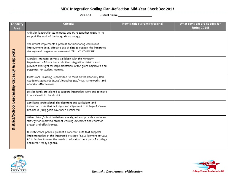MDC Integration Scaling Plan-Reflection Mid-Year Check Dec 2013