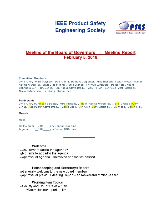 Meeting of the Board of Governors - Meeting Report