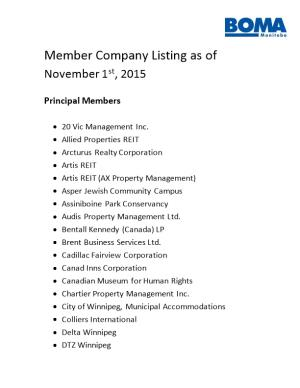 Member Company Listing As Of