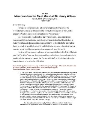 Memorandum for Field Marshal Sir Henry Wilson