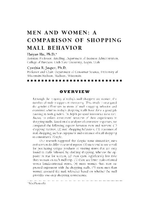 Men and Women: a Comparison of Shopping Mall Behavior