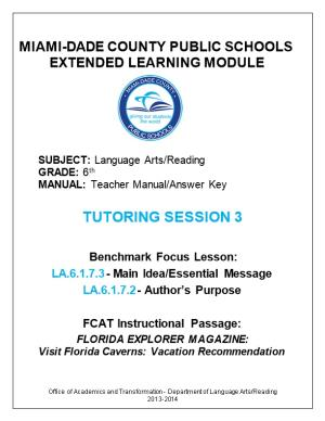 Miami-Dade County Public Schools Extended Learning Module