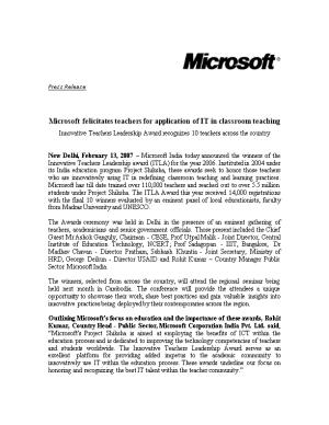 Microsoft Felicitates Teachers for Application of IT in Classroom Teaching