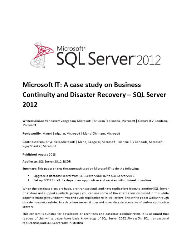 Microsoft IT: a Case Study on Business Continuity and Disaster Recovery SQL Server 2012