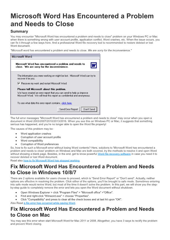 Microsoft Word Has Encountered a Problem and Needs to Close