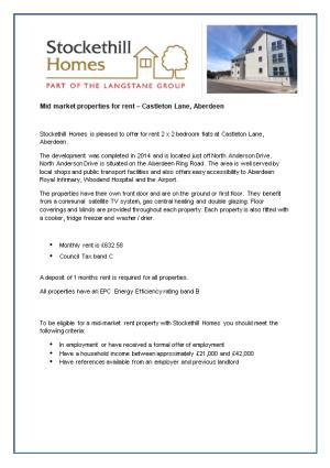 Mid Market Properties for Rent Castleton Lane, Aberdeen