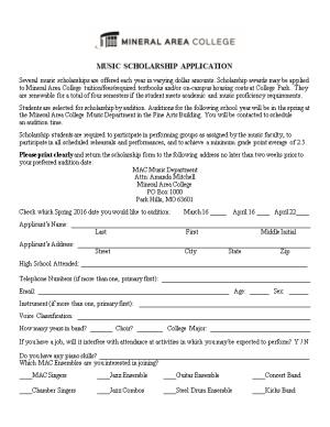 Mineral Area College Scholarship Application