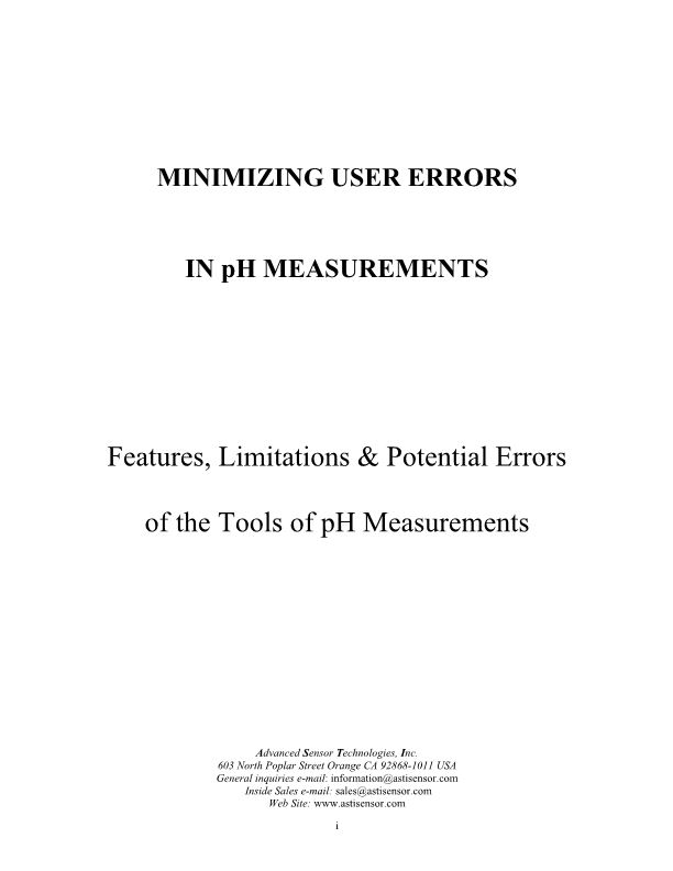 MINIMIZING USER ERRORS in Ph MEASUREMENTS