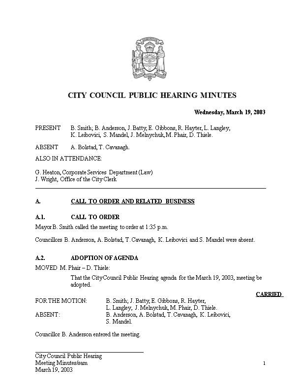 Minutes for City Council March 19, 2003 Meeting