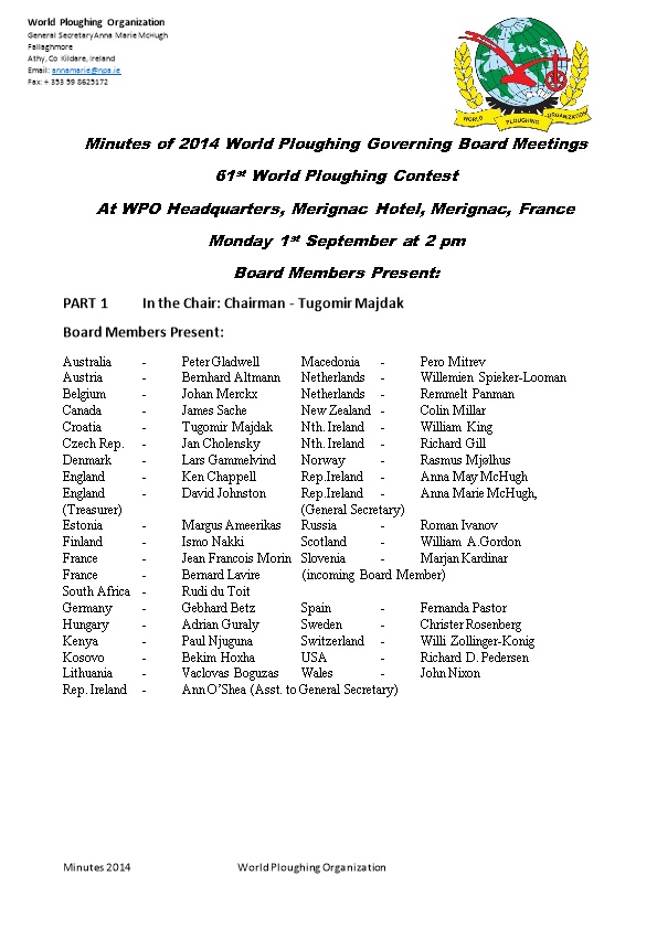 Minutes of 2014 World Ploughing Governing Board Meetings