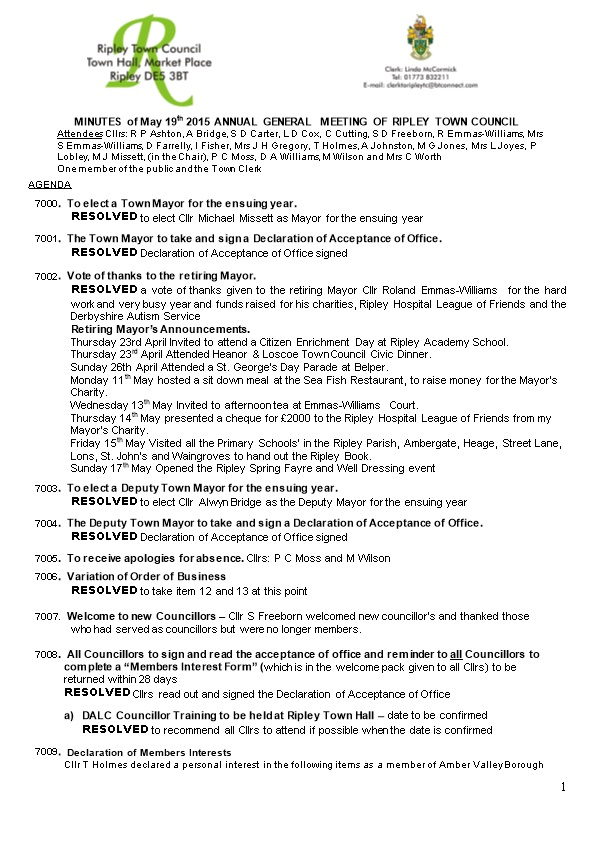 MINUTES of May 19Th 2015 ANNUAL GENERAL MEETING of RIPLEY TOWN COUNCIL