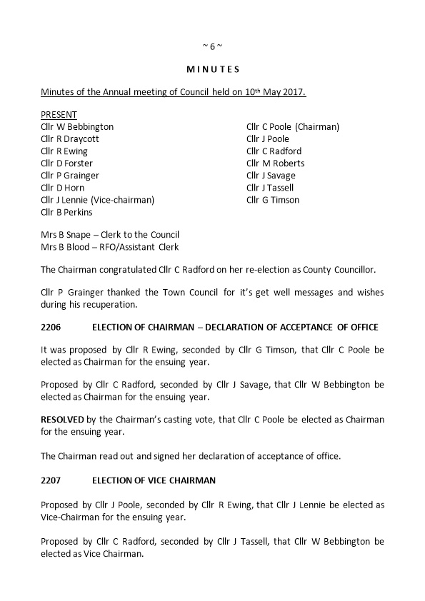 Minutes of the Annual Meeting of Council Held on 10Th May 2017