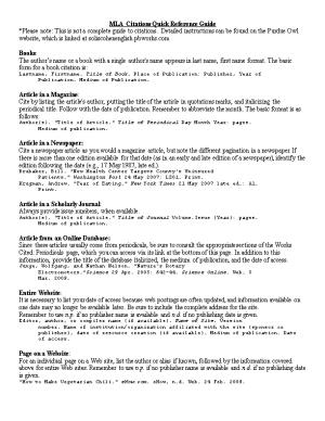 MLA Citations Quick Reference Guide