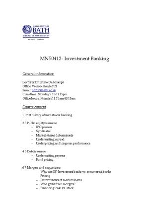 MN50412- Investment Banking