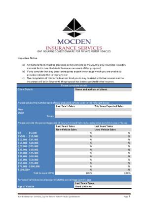Mocden Insurance Services Gapfor Private Motor Vehicles Questionnairepage1