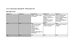 Mock Exam Timetable