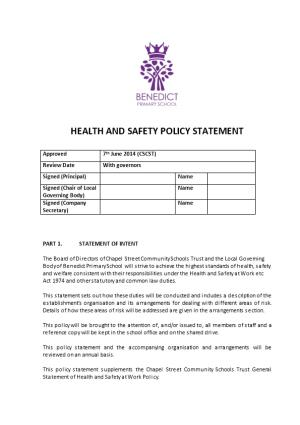 MODEL HEALTH and SAFETY STATEMENT for Schools