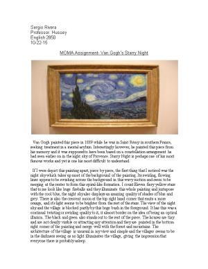 MOMA Assignment- Van Gogh S Starry Night