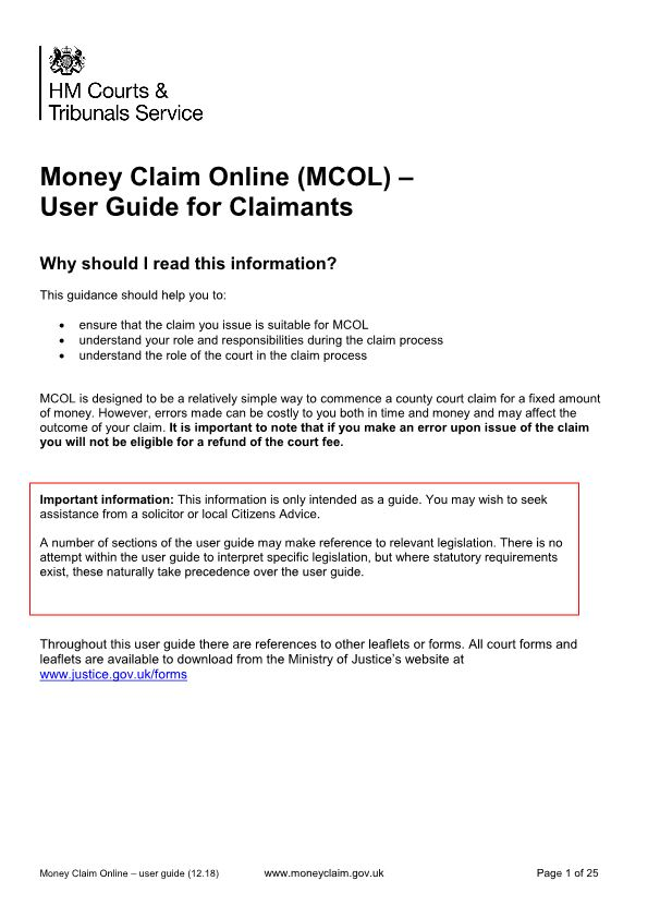 Money Claim Online (MCOL) – User Guide for Claimants