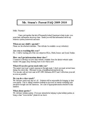 Mr. Sturm S Parent FAQ 2009-2010