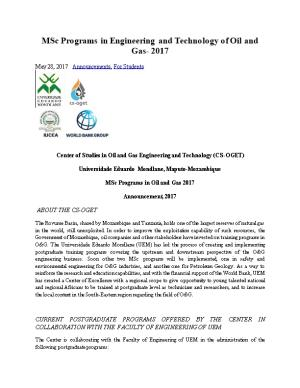 Msc Programsin Engineering and Technology of Oil and Gas-2017