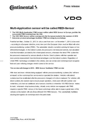 Multi-Application Sensor Will Be Called REDI-Sensor
