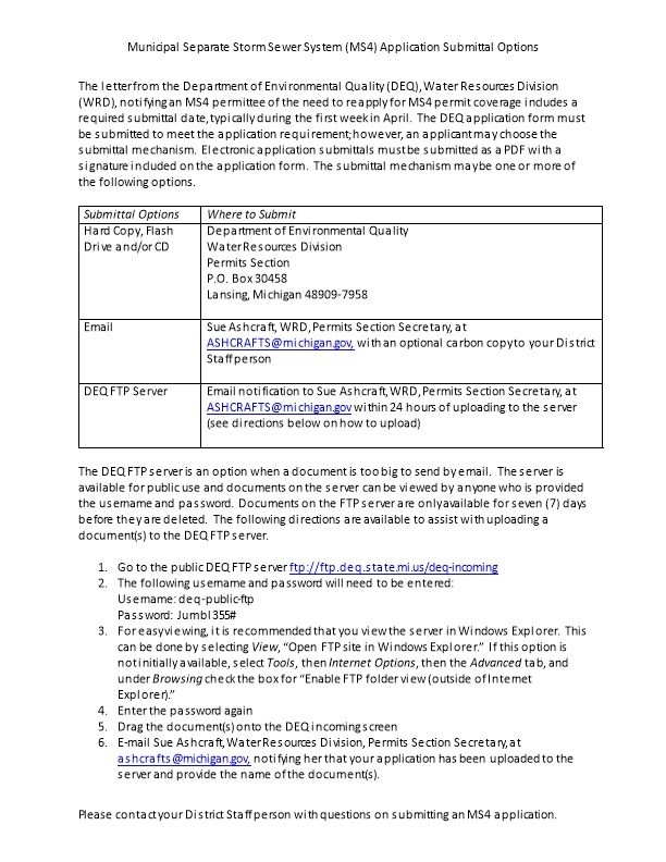 Municipal Separate Storm Sewer System (MS4) Application Submittal Options