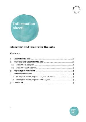 Museums and Grants for the Arts