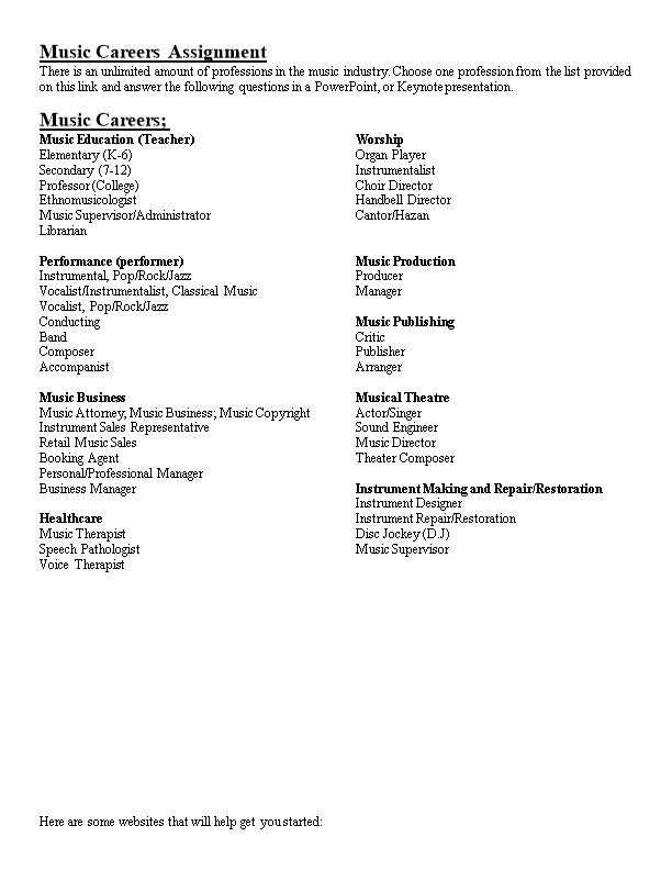 Music Careers Assignment - DocsBay