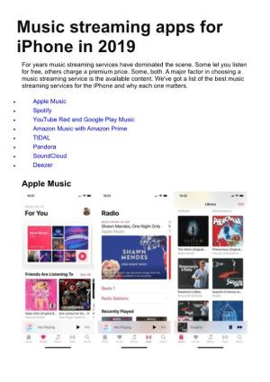 Music Streaming Apps for Iphone in 2019