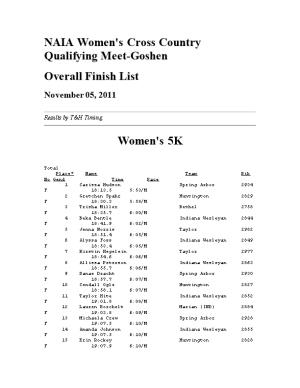 NAIA Women's Cross Country Qualifying Meet-Goshen