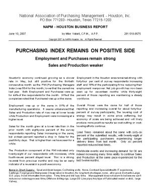 NAPM - Houston, Inc, Business Report May 2007