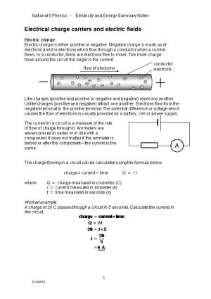 National 5 Physics - Electricity and Energy Summary Notes