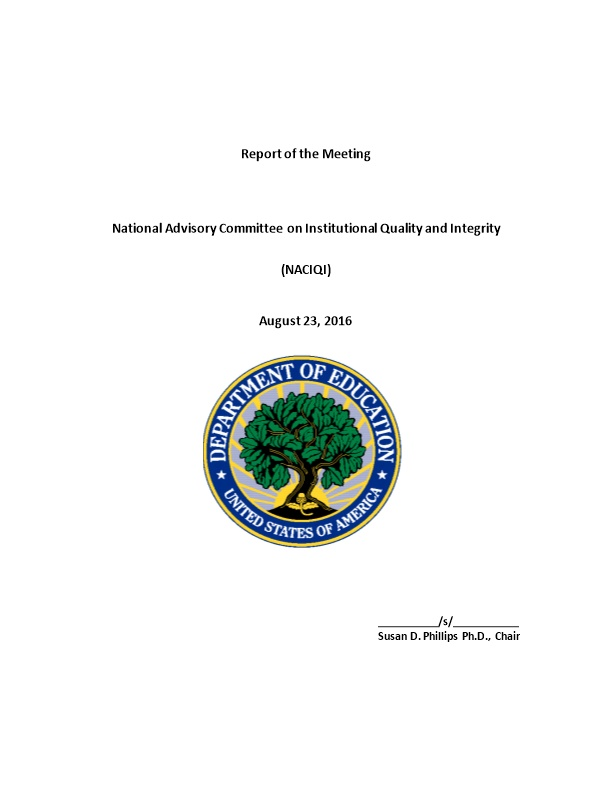 National Advisory Committee on Institutional Quality and Integrity