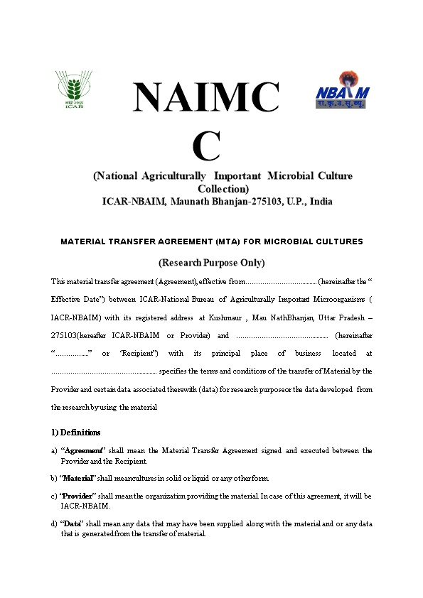 National Agriculturally Important Microbial Culture Collection