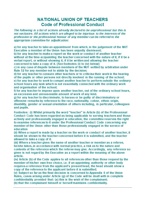 NATIONAL UNION of TEACHERS Code of Professional Conduct