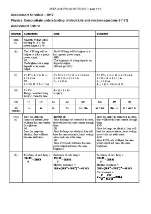NCEA Level 2 Physics (91173) 2012 Assessment Schedule
