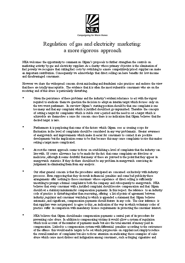 NEA - Regulation of Gas and Electricity Marketing: a More Rigorous Approach