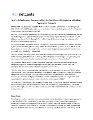 Netcents Technology Announces That the First Phase of Integration with Aliant Payments