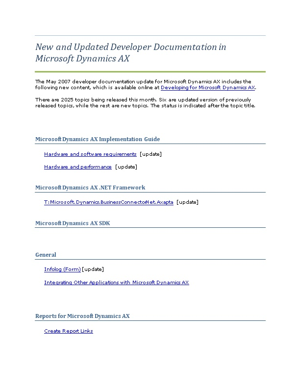 New and Updated Developer Documentation in Microsoft Dynamics AX