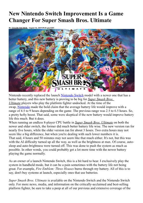 New Nintendo Switch Improvement Is a Game Changer for Super Smash Bros. Ultimate