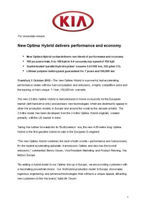 New Optima Hybrid Delivers Performance and Economy