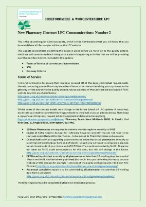 New Pharmacy Contract LPC Communications: Number 2
