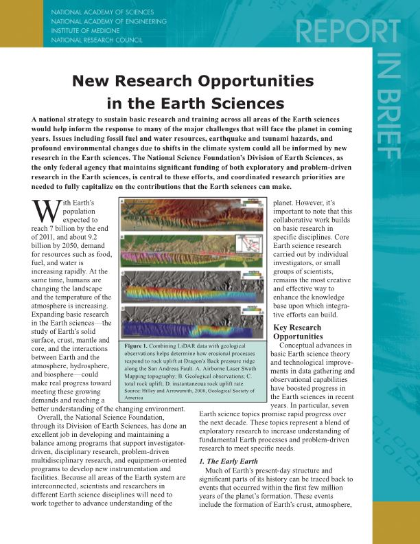 New Research Opportunities in the Earth Sciences