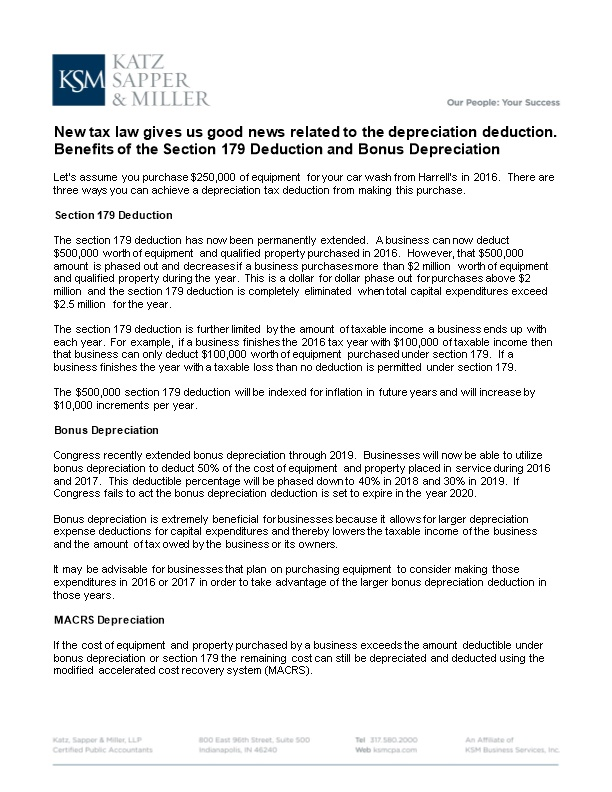 New Tax Law Gives Us Good News Related to the Depreciation Deduction