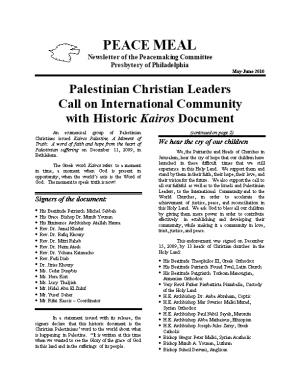 Newsletter of the Peacemaking Committee