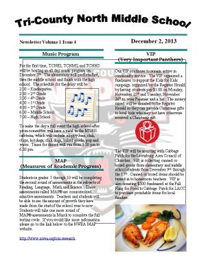 Newsletter Volume 1 Issue 4December 2, 2013